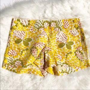 J. Crew 100% linen shorts yellow city fit floral 0